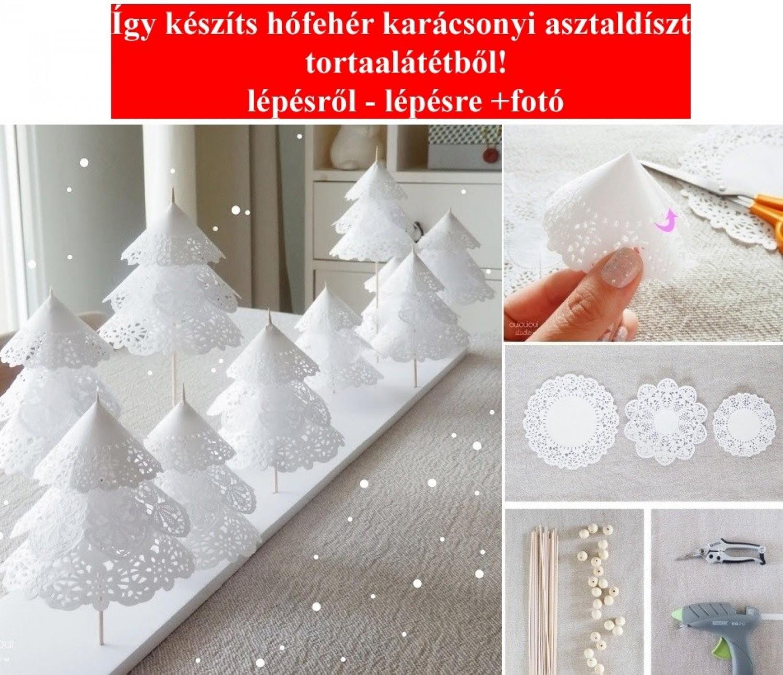 Mutatjuk, hogy készíthetsz gyönyörű ünnepi hófehér karácsonyi asztaldíszt tortaalátétből! lépésről - lépésre +fotó