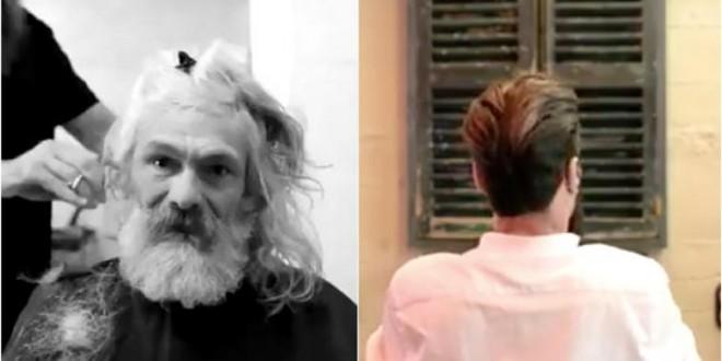 Az 55 éves hajléktalan sírni kezdet amikor meglátja magát a tükörben az átváltozás után